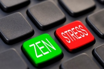 Close up of green zen and red stress keys on a computer keyboard